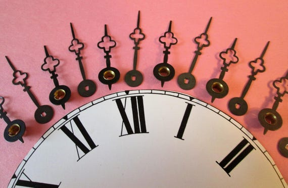 6 Pairs of Vintage French Trefoil Design Black Steel Clock Hands for your Clock Projects, Steampunk Art, Jewelry Making and etc...