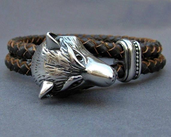 Wolf Head, Braided Leather Bracelet, Mens Stainless Steel Leather bracelet Cuff Gift For Men Customized On Your Wrist