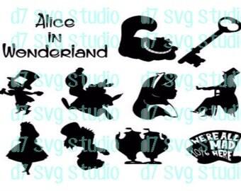 Alice in wonderland SVG PNG JPEG instant download file