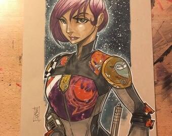 "Sabine Wren from ""Star Wars Rebels"" (Season 3) illustration by artist Tom Hodges"