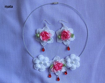 adornment necklace shabby flower crochet earrings