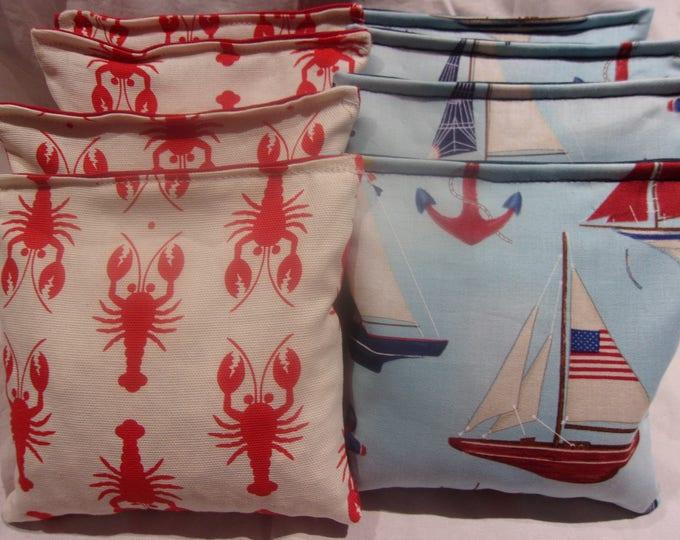 8 ACA Regulation Cornhole Bags - Ocean Lobsters & Sailboats and Anchors
