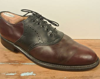 Johnston & Murphy Burgundy/Black Aristocraft Saddle Plain Toe Balmoral Men's Size: 10.5D