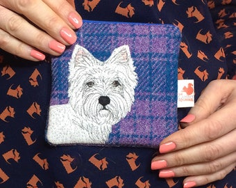Westie dog coin purse - scottie dog purse - Harris Tweed purse - tartan zip purse - Westie gifts - blue wool purse - embroidered westie