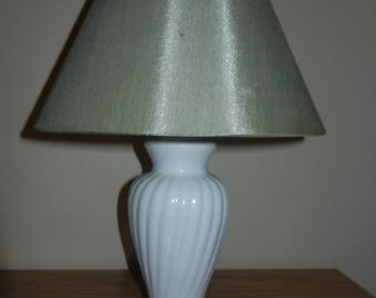 Vintage White Lamp with a Light Green UNO Shade
