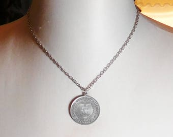 Concord Minuteman Coin Pendant Chain Necklace 1776 1976, Liberty Bell, Cradle of Liberty, Bicentennial Minuteman, Coin Necklace