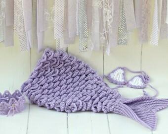 Mermaid Tail Blanket Lavender, Baby Crochet Mermaid Tail Blanket, Mermaid Photo Prop, Lavender Mermaid Tail Blanket Set, Baby Shower Gift