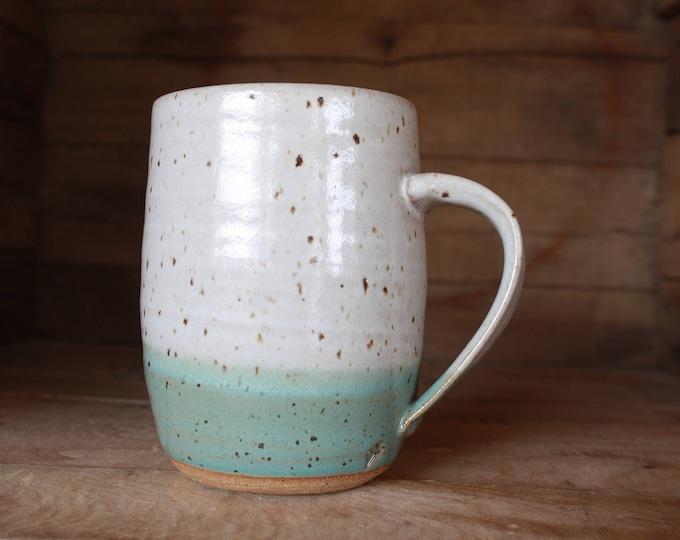 Coffee Mug - White & Teal - KJ Pottery