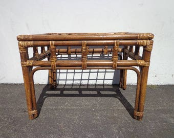 Rattan Coffee Table Bohemian Boho Chic Accent Stand Chippendale Chinese Faux Bamboo Palm Beach Chinoiserie Hollywood