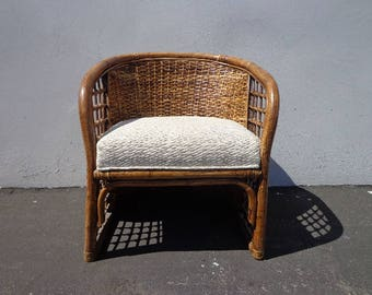 Rattan Armchair Wicker Chair Woven Boho Chic Regency Style Coastal Chinese Chippendale Chinoiserie Bamboo Seating Desk Chair Mid Century