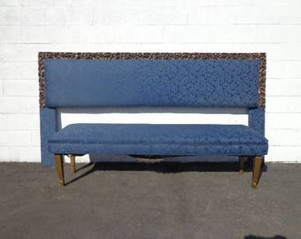 2pc Headboard Bench Upholstered Bed King Size Blue Navy Archlace Hollywood Glam Regency French Provincial Bed Gold Boudoir Vanity Ornate