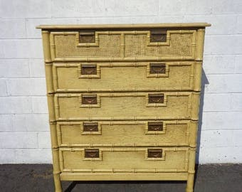 Tall Dresser Lingerie Chest Vintage Faux Bamboo Chest Chinese Chippendale Chinoiserie Bedroom Storage Boho Chic Regency CUSTOM PAINT AVAIL