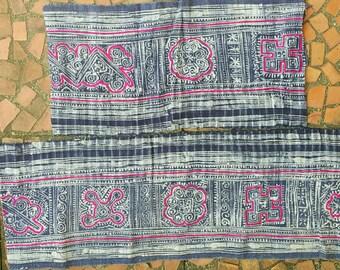 Hand woven Hmong hemp batik fabric natural indigo (H344)