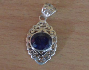 Dyed Sapphire Pendant,Blue Sapphire Pendant,Gemstone Pendant,September Birthstone Jewelry,Dyed Sapphire Stone 925 sterling silver Necklace