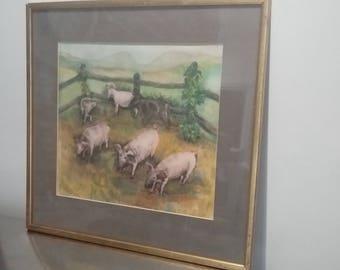 Dye on Silk Menda Lambrinudi 'Six Pigs'