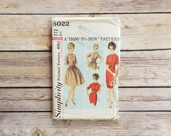Tea Length Dress Pattern Size 12 Simplicity 5022 Misses One Piece Dress and Two Skirts 32 Inch Bust Womens Dress 60s Formal Fashion Sewing