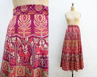 VINTAGE 1970s Indian Block Print Paisley Wrap Skirt | Cotton Maxi Skirt | Ethnic Bohemian Festival Skirt | Floral Hippie Circle Skirt