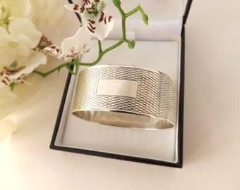Sterling Silver Napkin Ring for Baby Gift, British Hallmarked Wedding Gift, Vintage Silver Serviette Ring Baptism Christening First Birthday
