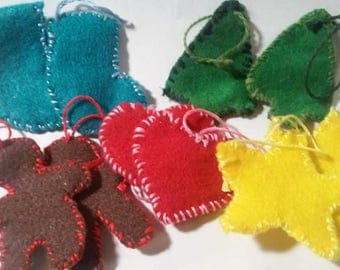 set of 10 felt mini xmas ornaments.