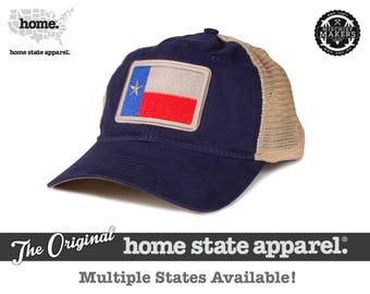 Home State Apparel Hat: State Flag Snapback Hat -Navy/Khaki