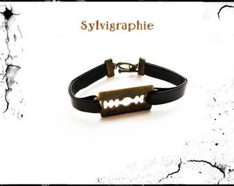 Bronze razor blade bracelet