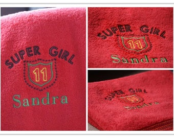 Personalized towel for teenager, Towel with name and number (age)