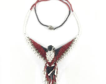 Hummingbird Beaded Necklace - Red White Black - Hummingbird Jewelry - 3D Beaded Bird - Bead Bird Necklace - Bird Lover Gift - Bird Pendant