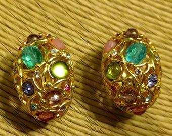 Vintage Designer Signed Joan Rivers Multi Color RhinestoneClip on Earrings