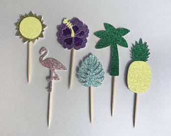 Tropical - Cupcake Toppers - Set of 6 - Free Shipping