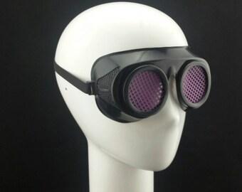 Cyber Rubber Goggles with Purple Lenses minion goggle cyberpunk aviator sunglasses cosplay glasses cyber goggles goggles punk goggles