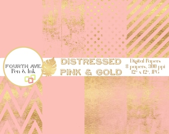 Pink and Gold Digital Paper, Gold Pattern, Pink and Gold, Distressed, Grunge, Digital Paper, Scrapbook Paper, Digital Background,