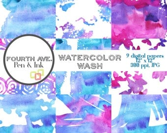 Watercolor Wash Digital Paper, Blue and Purple, Watercolor, Artsy, Colorful, Digital Paper, Watercolor Background, Watercolor Wallpaper