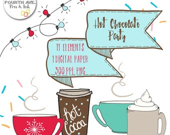 Hot Chocolate Clipart Christmas Holiday DIY Invitation Cocoa