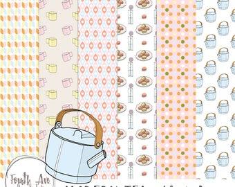 Tea Time Digital Paper, Tea Cup Digital Paper, Patterned Digital Paper, Pastel, Pink, Blue, Yellow, Digital Paper Pack
