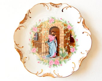 Vintage white with 18K gold trim decorative plate - wall hanging  - Jesus at the gate / made in Japan