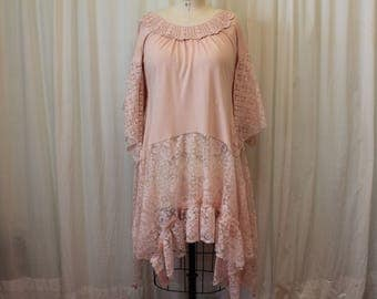 Pink lace dress Summer top Shabby chic Hippie Boho clothing Layered dress Romantic Juliette Mori girl style Country cottage upcycled  L-XL