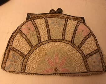 Stunning  true vintage Victorian/Edwardian beaded bag - French made