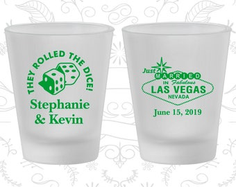 Frosted Shot Glasses, Personalized Shot Glasses, Shot Glasses, Las Vegas, Wedding Favors, Wedding Glassware, Wedding Shot Glasses (C55)