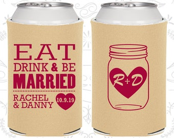 Personalized Can Coolers, Monogram, Custom Can Coolers, Wedding Favor Can Coolers, Wedding Can Coolers, Beer Can Coolers (C17)