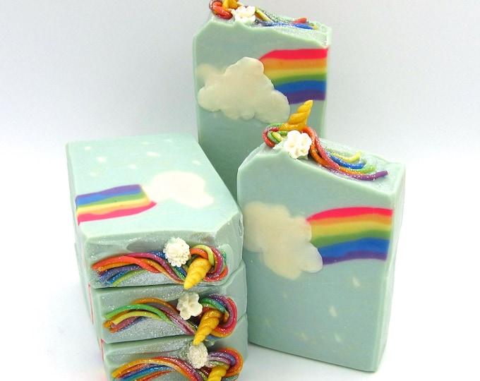 Featured listing image: Unicorns and Rainbows artisan soap