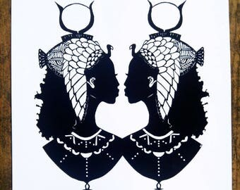 Two Cleopatras, African American Art, Lauryn Hill, Afro Art, Cut Paper Art Print, Queen of Nile,