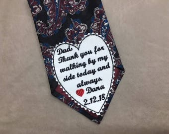 THANK YOU FOR Walking By My Side - Layla Font, Father of the Bride Wedding Tie Patch, Iron On or Sew On, Tie Patch