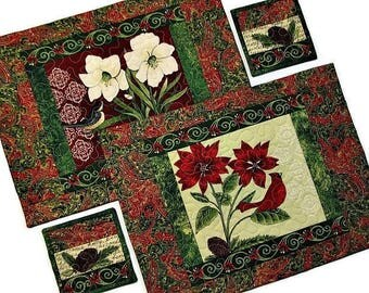 Christmas Quilted Placemat Set, Holiday Floral Placemats and Coasters, Christmas Table Coordinates, 4 Piece Set, Quiltsy Handmade