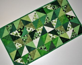"""Quilted St. Patrick's Day Table Runner, Modern Scrappy Table Mat, Shamrock Table Runner, 13""""x23"""", Quiltsy Handmade"""