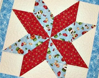 "Christmas Quilted Table Topper, Rustic Winter Table Topper, Blue and Red Christmas Star Table Topper, 20""x20"", Quiltsy Handmade"