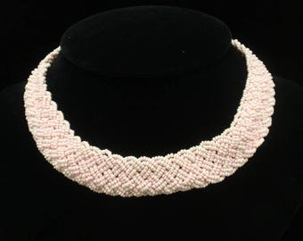 Pink Seed Beads Choker Necklace Vintage