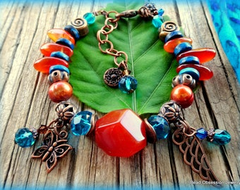 Boho Bracelet; Carnelian Bracelet; Orange Bracelet; Hippie Bracelet; Bohemian Bracelet; Gypsy Bracelet; Charm Bracelet; Australian Seller