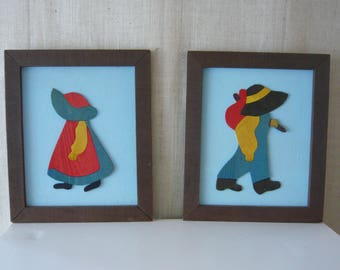 Vintage Sunbonnet Sue and Overall Sam Artist Signed Wood Cut Out Portraits