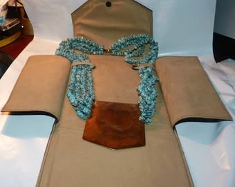 Signed Large Native American Turquoise Beads & Brass Plaque Necklace in Presentation Envelope 14k G.F. Clasp IMPRESSIVE!