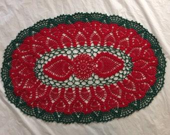 Crochet oval pineapple doily, christmas crochet oval doily, crochet table Centerpiece, oval doily, oval pineapple doily, oval centerpiece